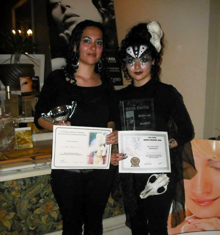 Alison Formosa with awards won for face and body painting
